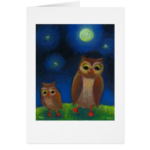 Owls dancing night fun unique full moon owl art greeting card