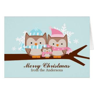 Owls Family Christmas Cards