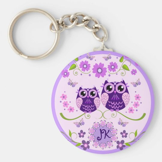 Owls, Flowers & Butterflies Custom Monogram Basic Round Button Key Ring