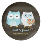 Owls Getting Married - Bride and Groom with Text Plate