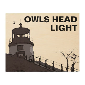 OWLS HEAD LIGHT WOOD PRINT