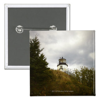 Owl's Head Lighthouse on a Cloudy Day 15 Cm Square Badge