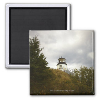 Owl's Head Lighthouse on a Cloudy Day Square Magnet
