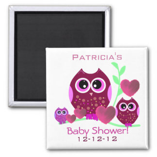 Owls & Hearts Baby Shower Square Magnet