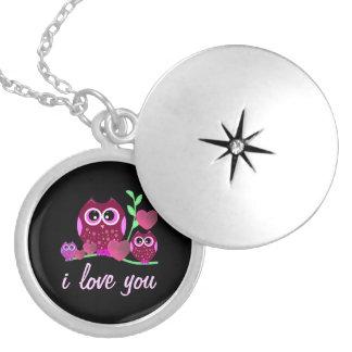 Owls & Hearts Love Round Locket Necklace