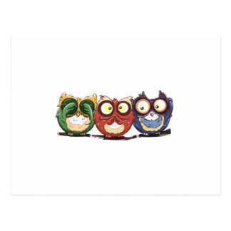 Owls Hoot See Speak Hear No Evil Postcard