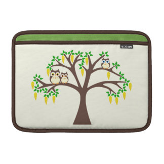 Owls in a Flowery Laburnum Tree Mac Book Sleeve