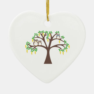 Owls in a Laburnum Tree Christmas Ornament