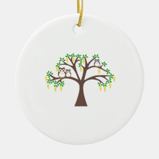 Owls in a Laburnum Tree Christmas Ornament