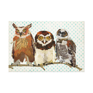 OWLS IN A ROW Canvas Canvas Print