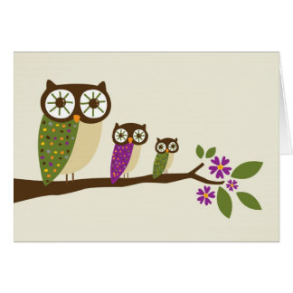 owls in a row greeting card