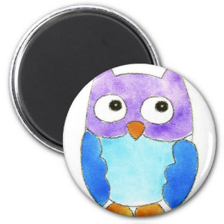 Owls in a Row 6 Cm Round Magnet
