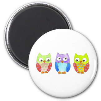 Owls in a Row Refrigerator Magnets