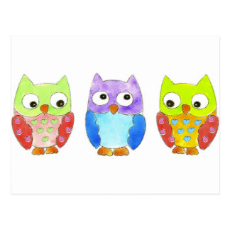 Owls in a Row Post Cards
