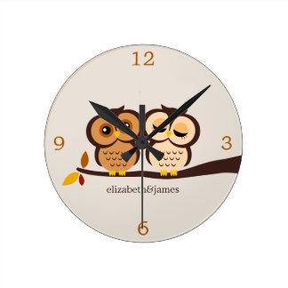 Owls in Autumn Wallclock