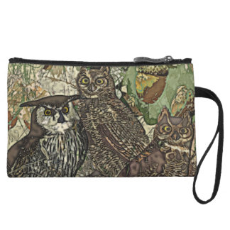 Owls in batik style Mini Clutch