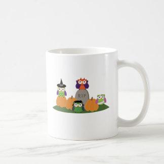 Owls in Halloween Costumes Sitting on Pumpkins Coffee Mug