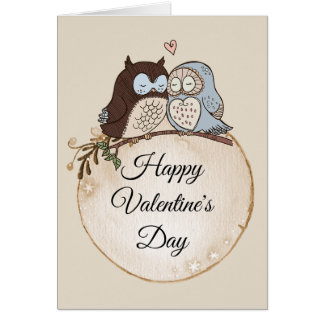 Owls in Love Valentines Card personalised