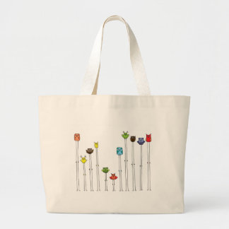 Owls In Multicolors Large Tote Bag