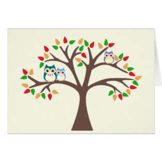 Owls in the All-Season Tree Card