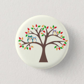 Owls in Tree 3 Cm Round Badge