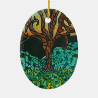 Owls in tree on floral mound ceramic oval decoration