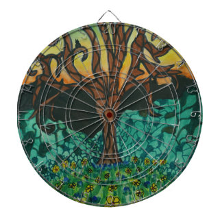 Owls in tree on floral mound dartboard