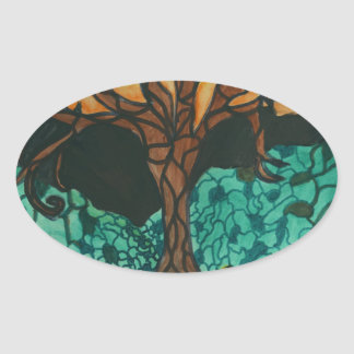 Owls in tree on floral mound oval sticker