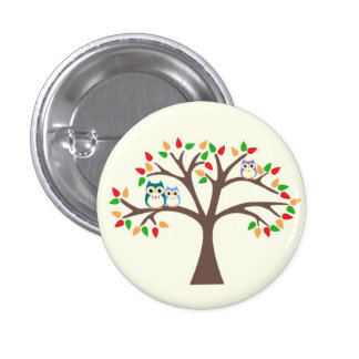 Owls in Tree Pinback Buttons
