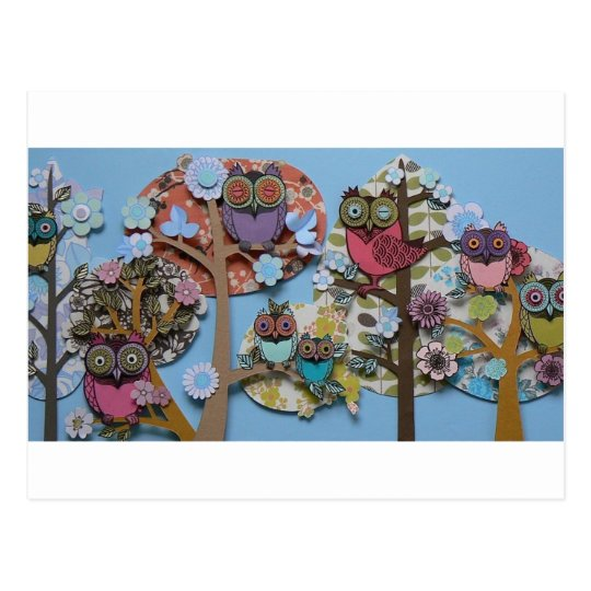 owls in trees postcard