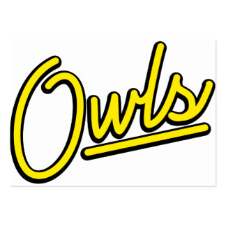 Owls in yellow business card templates