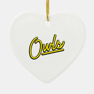 Owls in yellow ceramic heart decoration