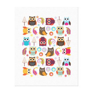 Owls Kids Room Canvas Gallery Wrapped Canvas