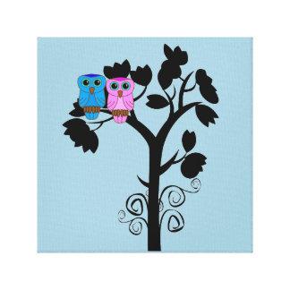 Owls - Love Birds - Cute Romantic Wall Art Canvas Print