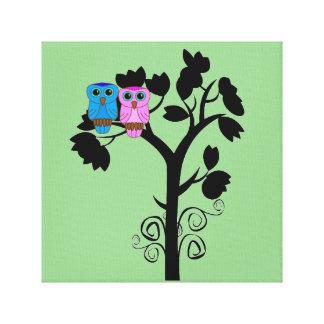 Owls - Love Birds - Cute Romantic Wall Art Stretched Canvas Print