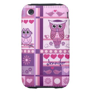 Owls, Love Birds, Patterns & Custom Name iPhone 3 Tough Case