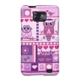 Owls Love Birds Patterns Custom Name Samsung Galaxy S2 Covers