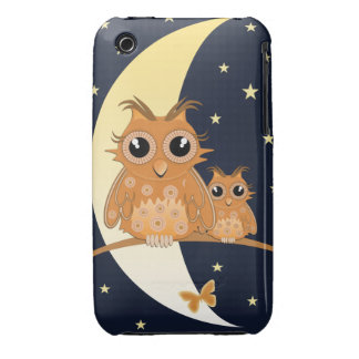 Owls, Moonlight and Stars, cartoon iPhone 3 Covers
