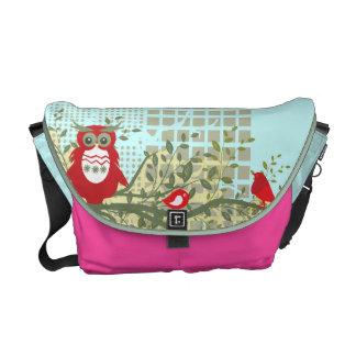owls on branch rickshaw bag pink blue courier bag