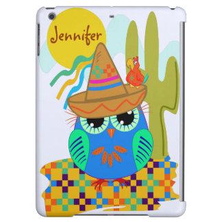 owls, patterns, custom, sombrero, cute, name, bird case for iPad air