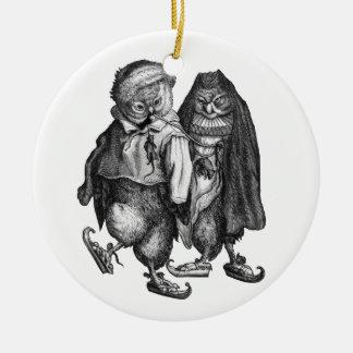 owls skating vintage christmas ornament