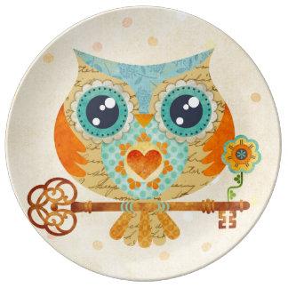 Owl's Summer Love Letters Porcelain Plate