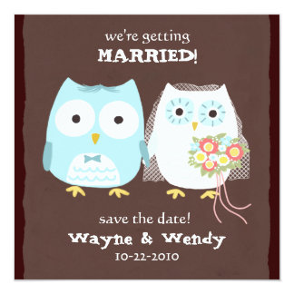 Owls Wedding Bride and Groom Save the Date 13 Cm X 13 Cm Square Invitation Card