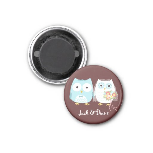 Owls Wedding Bride and Groom w/ Customizable Text Refrigerator Magnet