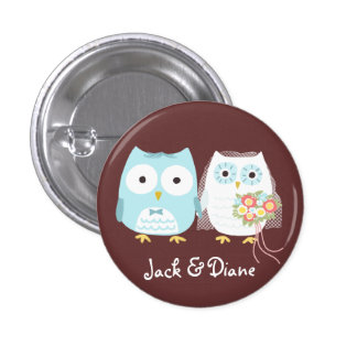 Owls Wedding Bride and Groom with Custom Text 3 Cm Round Badge