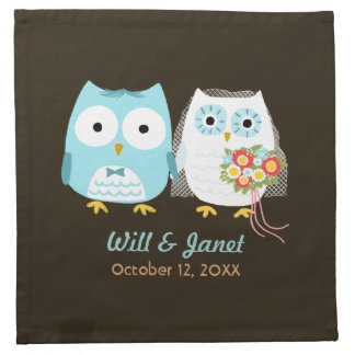 Owls Wedding - Bride and Groom with Custom Text Napkin
