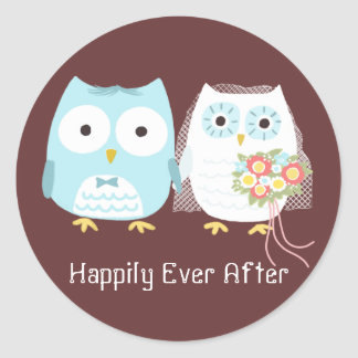Owls Wedding Bride and Groom with Custom Text Round Sticker