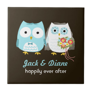 Owls Wedding - Bride and Groom with Custom Text Small Square Tile