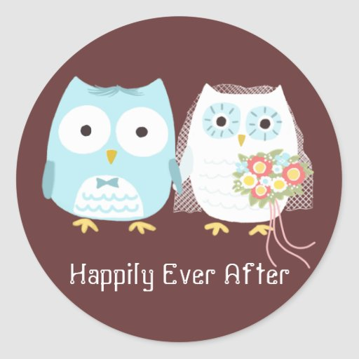 Owls Wedding Bride and Groom with Custom Text Stickers