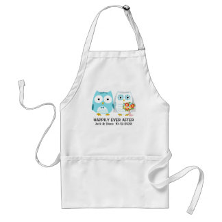 Owls Wedding Couple with Custom Text Aprons